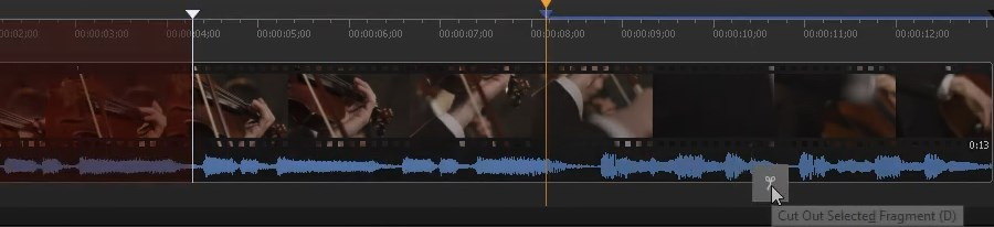 Mark the beginning and the end of a fragment to rip audio from video